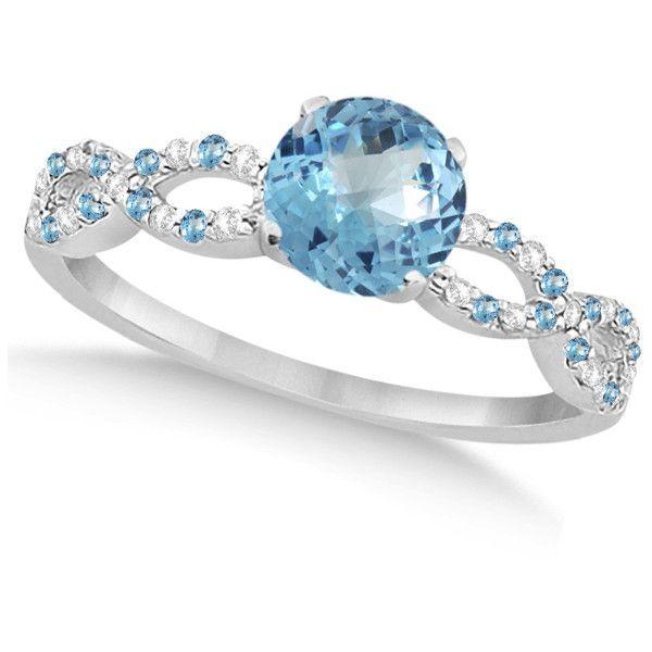 allurez infinity diamond blue topaz engagement ring 14k white gold 11 - Blue Wedding Rings