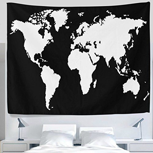 Alaza creative black and white world map tapestry wall hanging alaza creative black and white world map tapestry wall hanging artistic lightweight polyester fabric cottage dorm wall art home decoration 90x60 in gumiabroncs Images