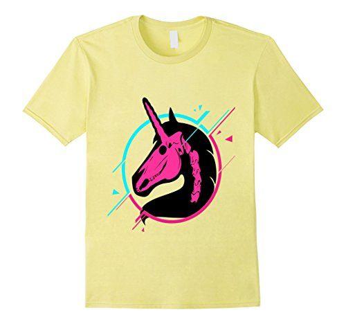 4dd65b088 Unicorn Skeleton T-Shirt $17.88 Hot Pink Aqua Skull Graphic Tee Fantasy  Punk 80s Eighties