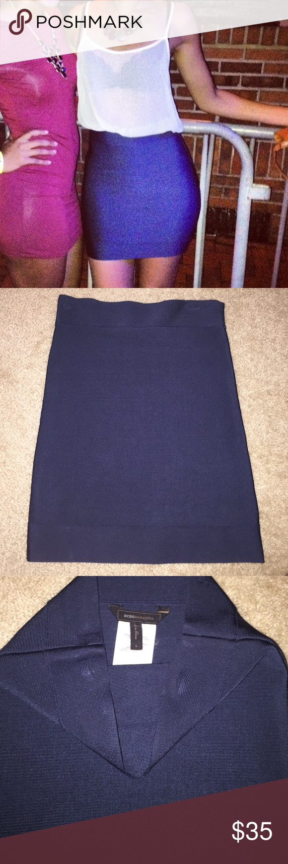 BCBGMaxAzria- Gardenia Bandage Power Skirt Designer navy blue fitted mini skirt! BCBGMaxAzria Skirts Mini