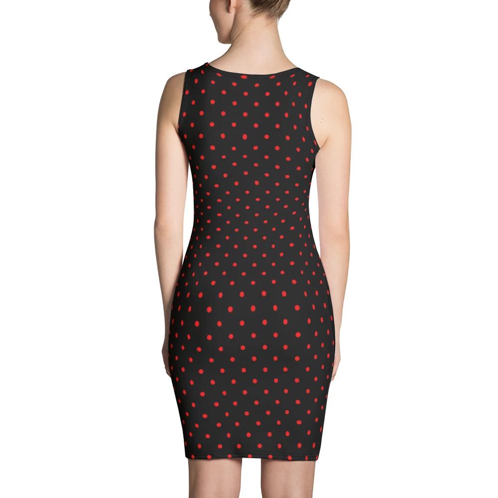 Black Red Cute Polka Dots Women's Sleeveless Dress-Made in USA #blacksleevelessdress