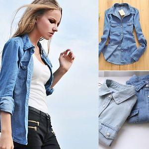 Details about Women Lady Girl Retro vintage Long Sleeve Blue Jean ...