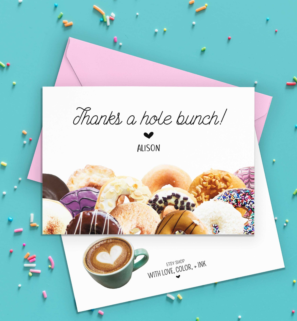 Donut Thank You Note Card Printable Bridal Shower Baby