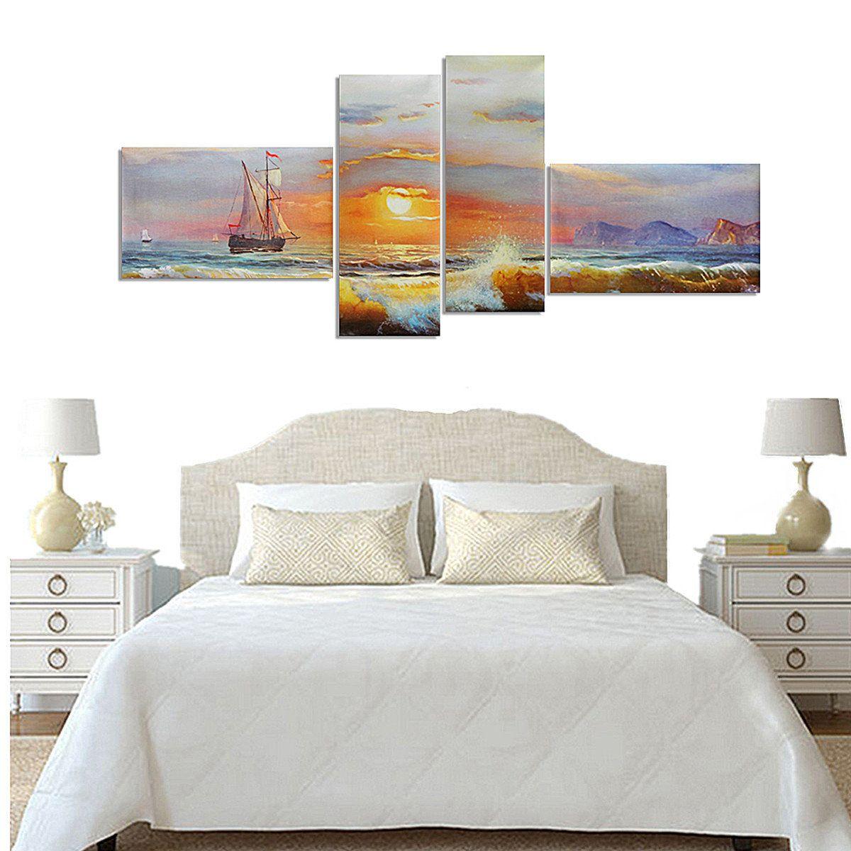 Wall Decor In Bedroom Impressive Sea Landscape Canvas Painting Modern Frameless Wall Art Bedroom Design Inspiration