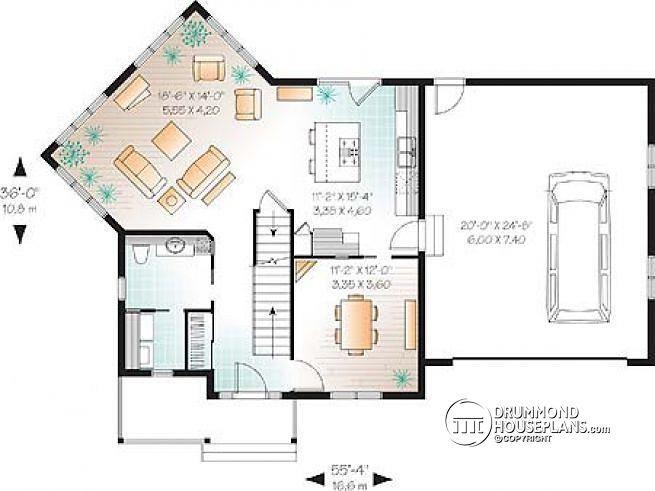 W2747-V1 - Colonial 3 bedroom home plan, 2-car garage, open floor