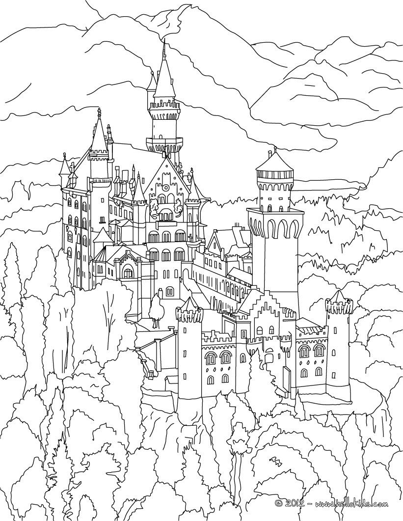 NEUSCHWANSTEIN CASTLE coloring page adult coloring books
