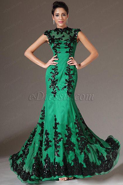 Vestidos verde esmeralda y negro