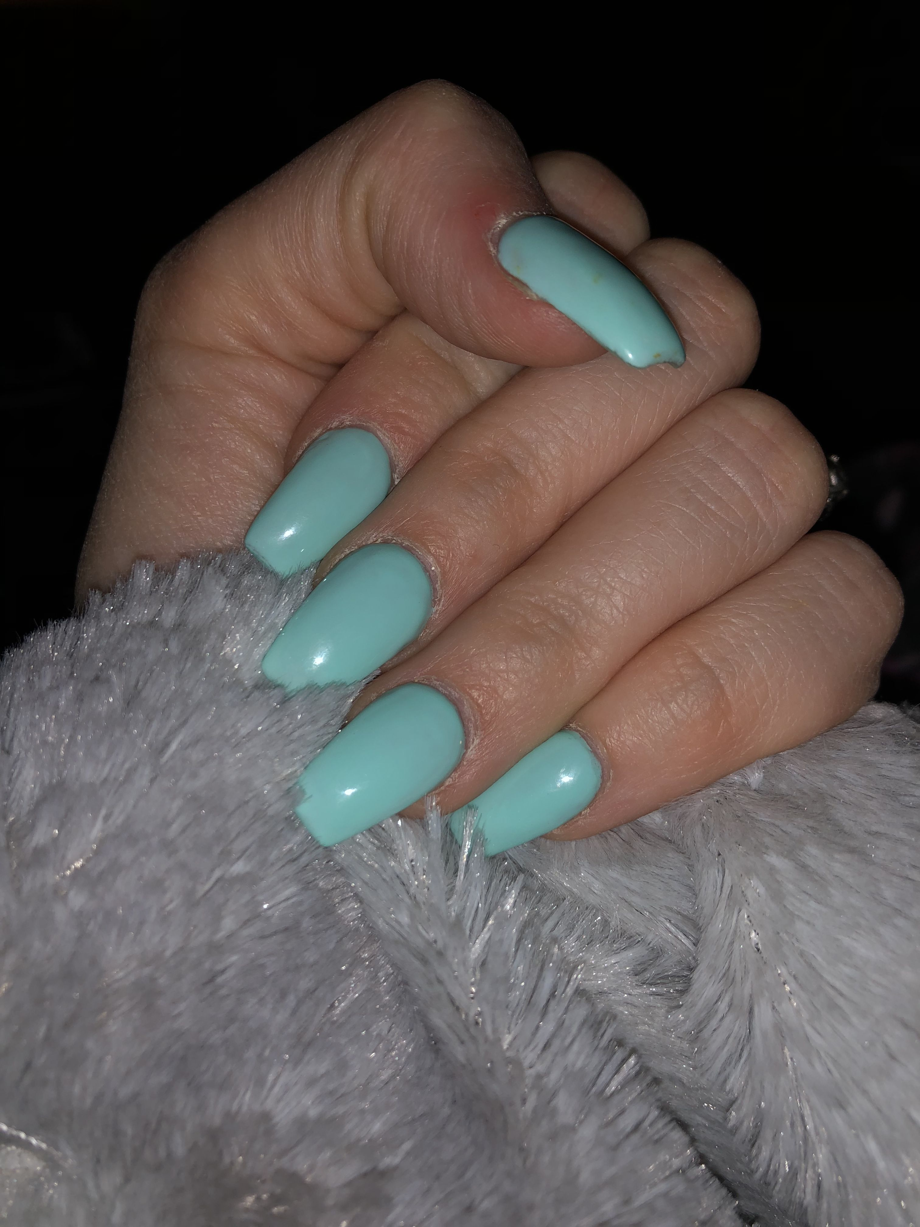Tiffany Blue Coffin Nails Nails My Nails Blue Coffin Nails