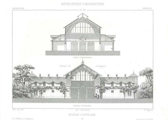 Architecture 1873 Architectural Drawing Horse Stables