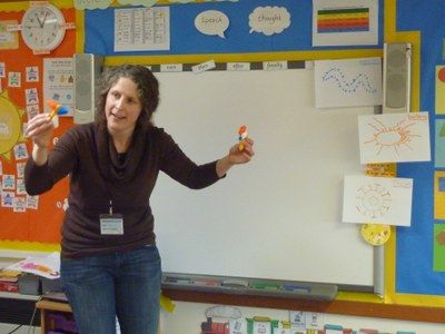 School visit by  Maike de la Roche to discuss T cell killers of the immune system with a Year 1 group
