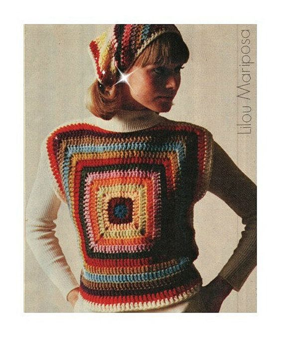 Crochet TOP Pattern Vintage 70s Granny Square Top Pattern Crochet ...