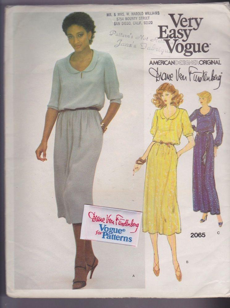 Vogue Designer Sewing Pattern Sz 10 Von Furstenberg Vtg 2065 Label Factory Fold #VoguePatterns #VeryEasyAmericanDesigner