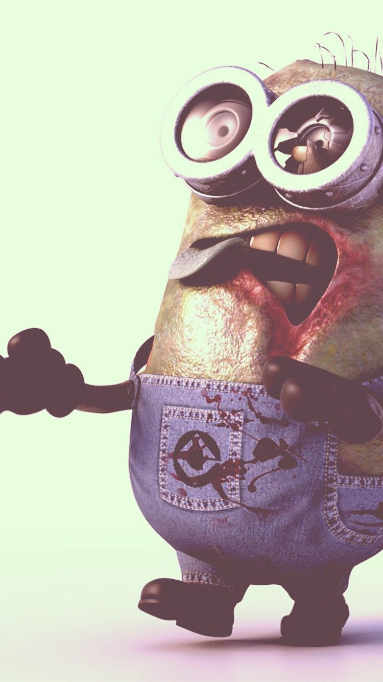 Movies Minion Zombie Fun Funny Despicable Me Scary Yellow HD IPhone 6  Wallpaper