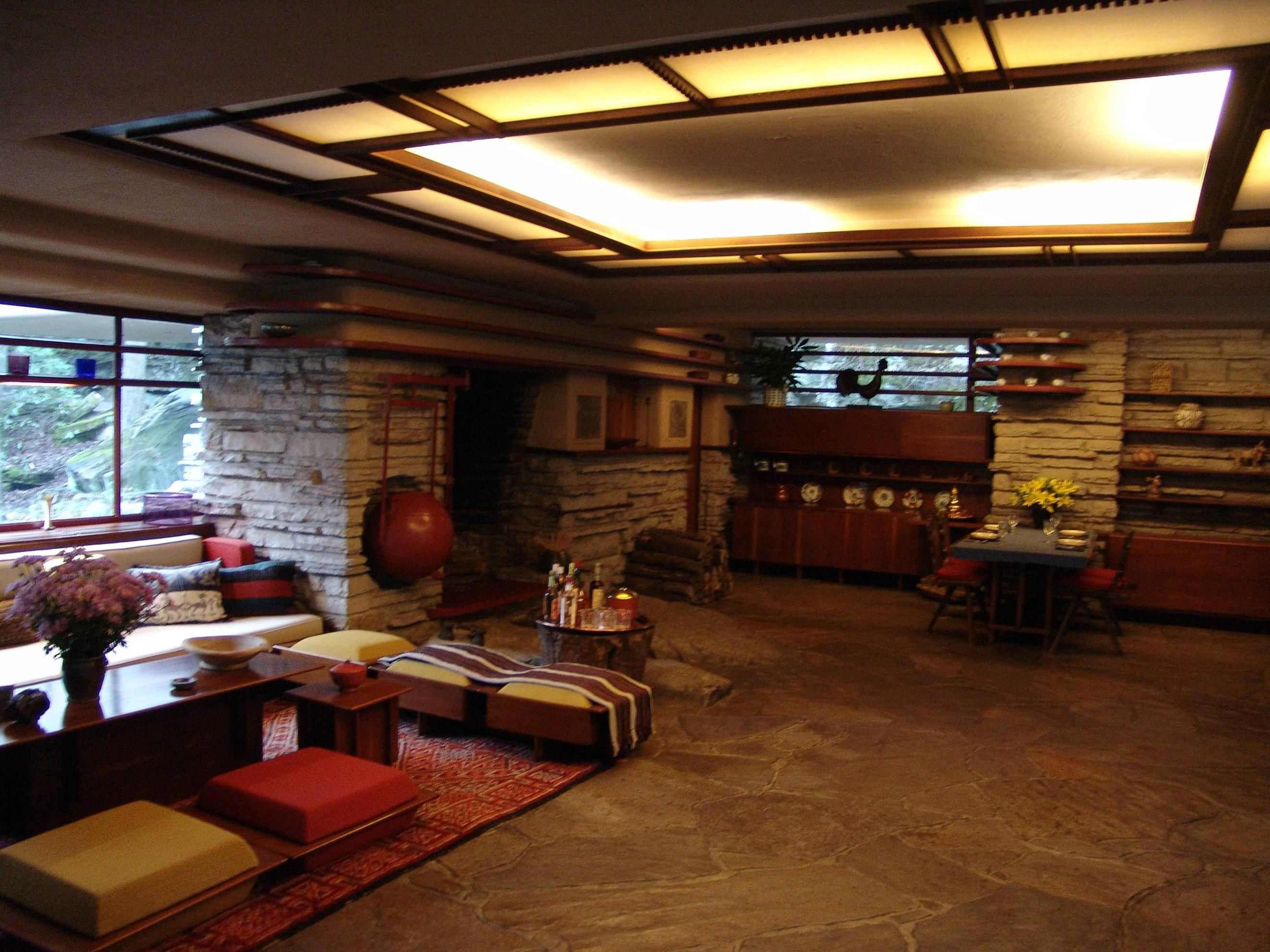 Frank Lloyd Wright Interior Design Fallingwater Interior Hearth  Google Search  Arts & Crafts Style