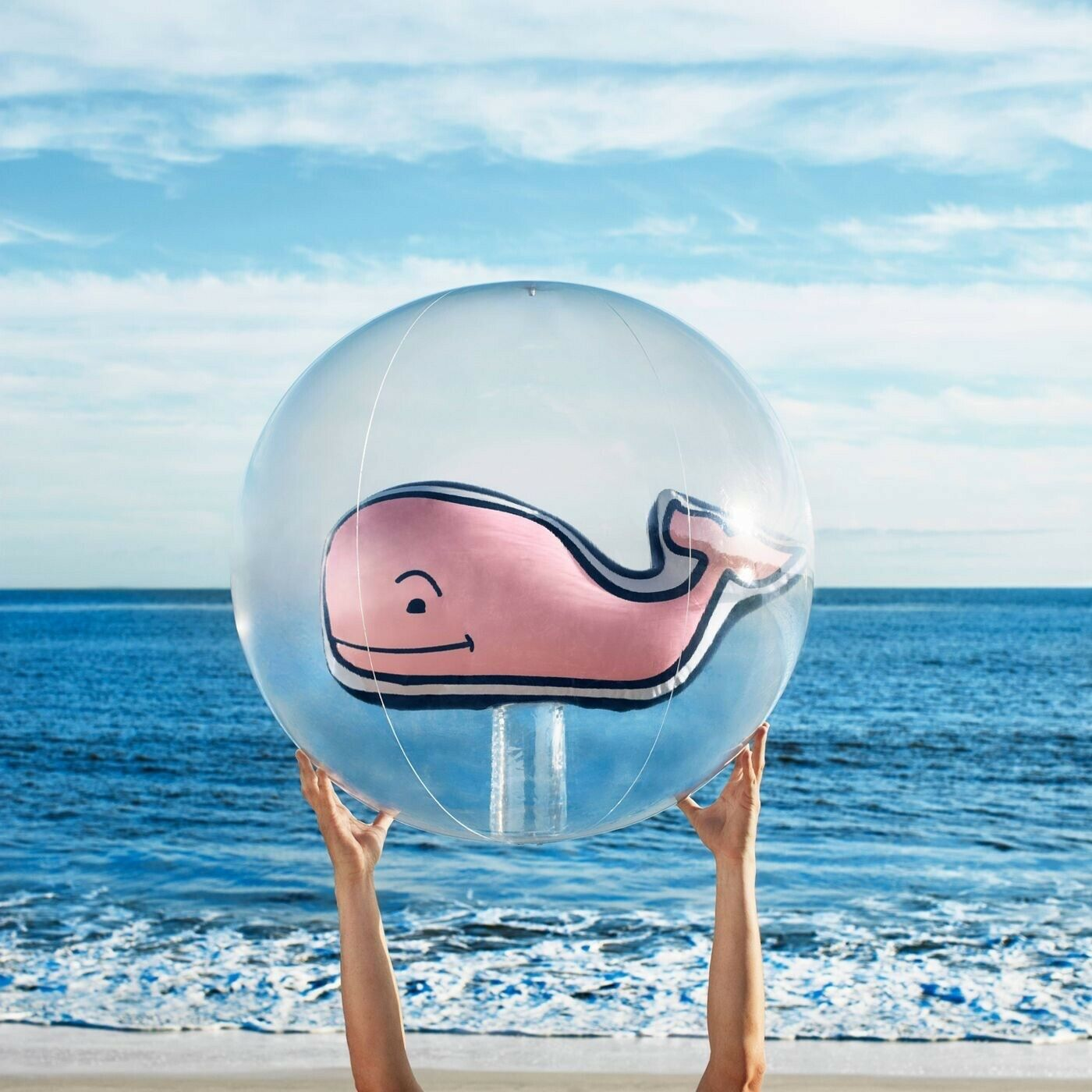 New Vineyard Vines Pink Whale Inflatable Large Beach Ball Pink Whale No Box