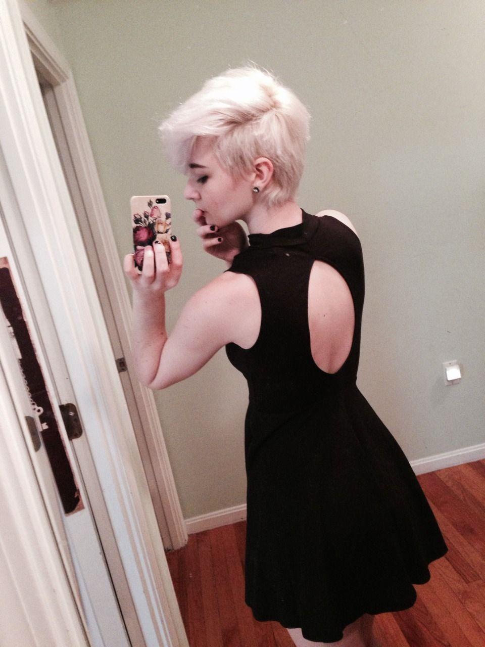 Love the blonde faux hawk pixie cut hair pinterest faux