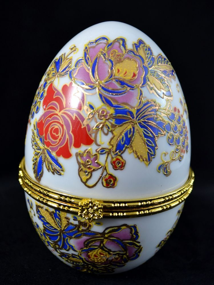Porcelain egg shaped hinged purple red blue floral trinket jewelry porcelain egg shaped hinged purple red blue floral trinket jewelry gift box dish negle Images