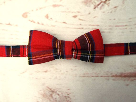 **Ready to post**  Baby size red tartan pre tied bow tie 100% quality cotton…