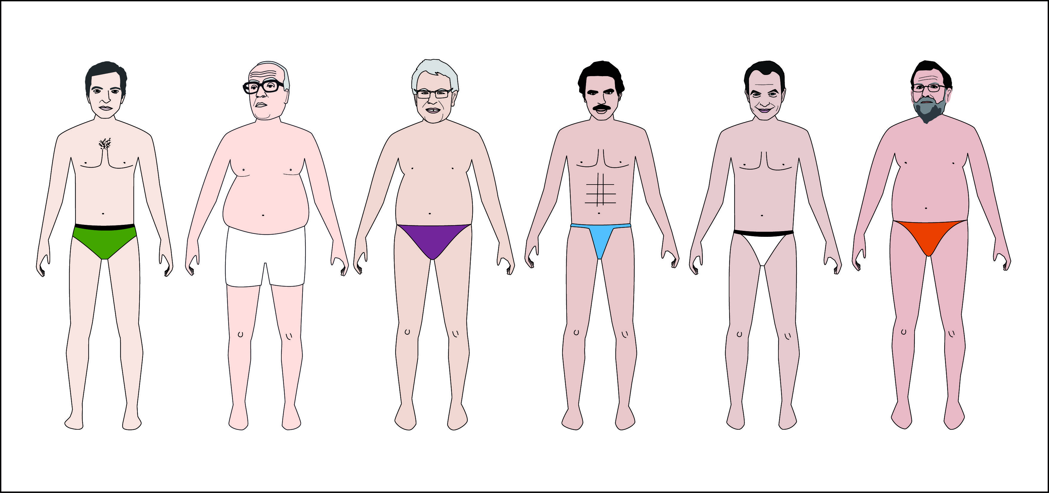 Viste a tu presidente: Bájate a los 6 últimos presidentes de España - Insanity. Graphic Designer, Art Director Elena González