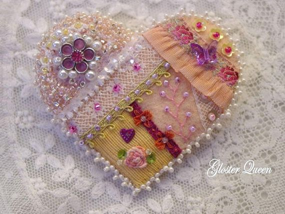 Crazy quilt heart pin with vintage trims & vintage charm