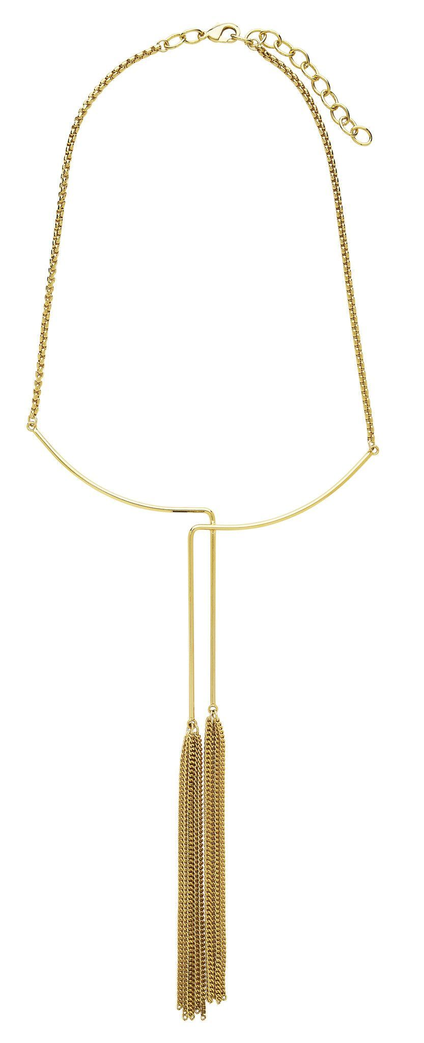 Gold Tone Tassel Collar Necklace