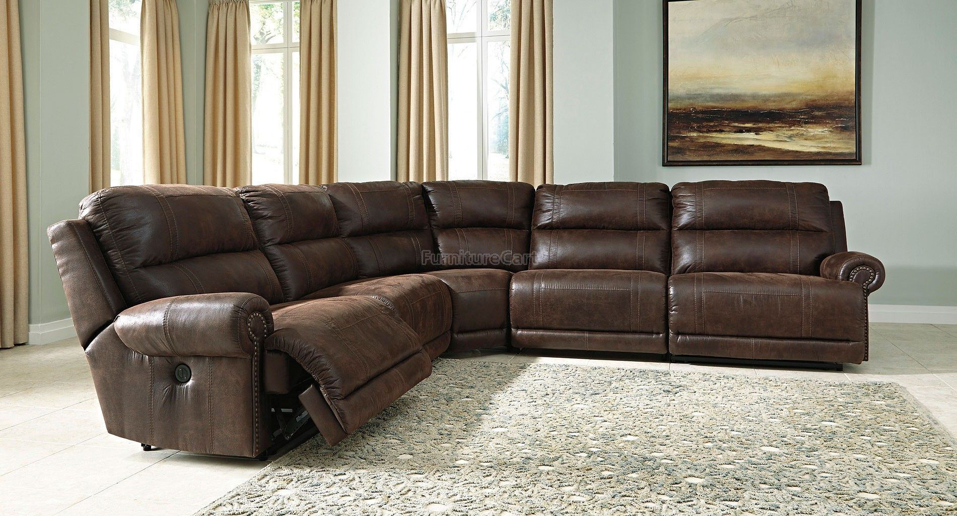 Luttrell Espresso Modular Reclining Sectional Espresso Leather