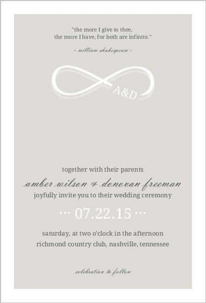 Infinity Monogram Champagne Wedding Invitation