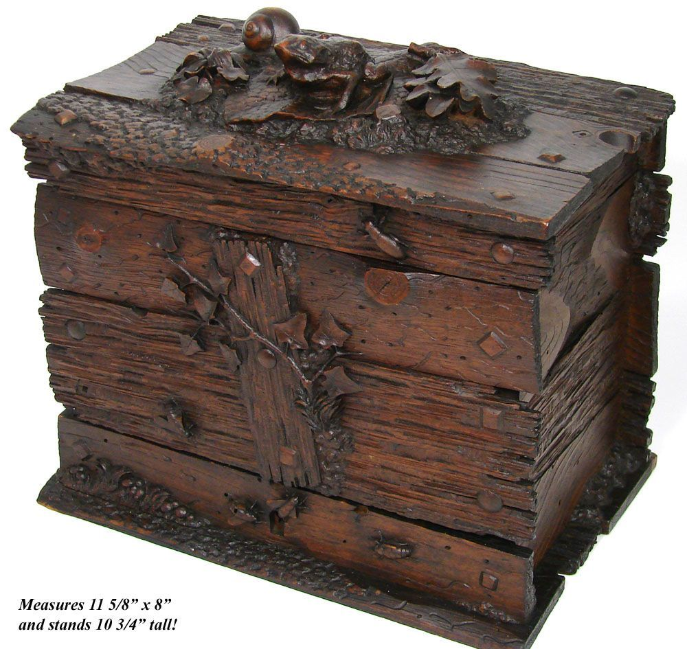 Antique Black Forest Liquor Tantalus With Carved Frog Insects