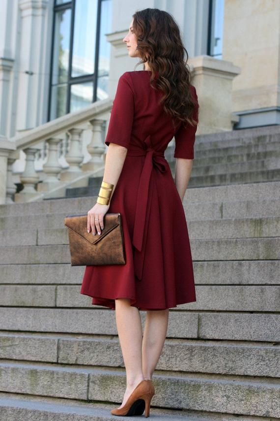 Plus Size Dress, Cocktail Dress, Womens Dress, Red Dress, Burgundy Dress, Rust, Women Dress, Knee Length, Short Sleeve Dress, 1950s Dress