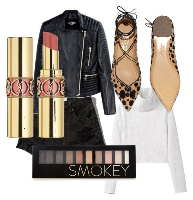 """Untitled #25"" by zincandcopper on Polyvore featuring Abercrombie & Fitch, Balmain, Salvatore Ferragamo, Forever 21, Yves Saint Laurent, women's clothing, women, female, woman and misses"