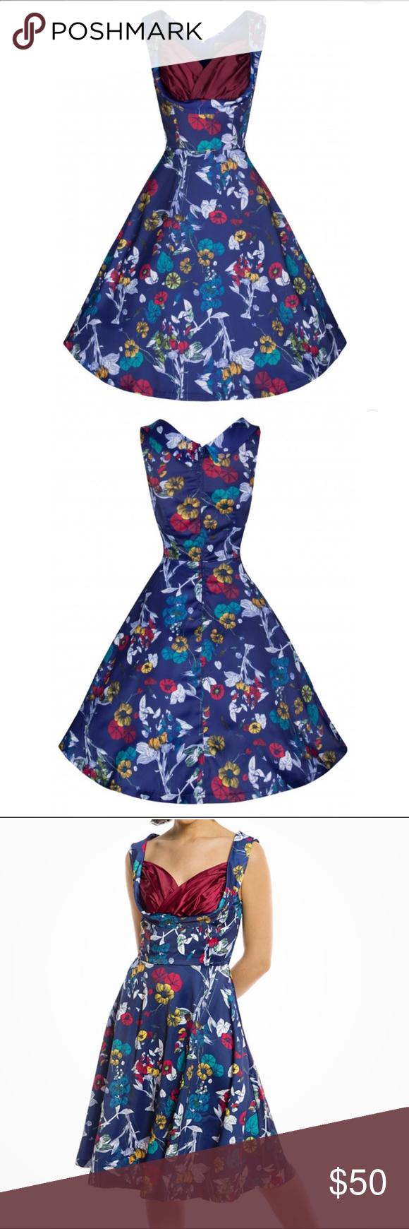 NWT LINDY BOP NAVY WOODLAND OPHELIA DRESS SZ UK26 Brand