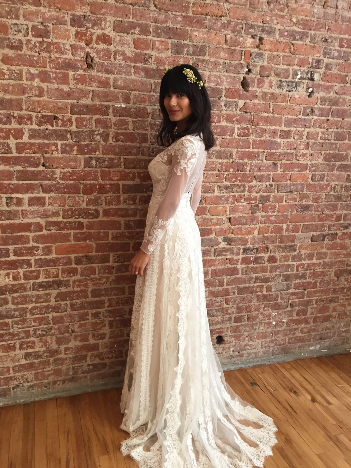 For The Effortless Bohemian Bride This Long Sleeve V Neckline Linear Lace Sheath Wedding Dr Wedding Dresses Lace Davids Bridal Wedding Dresses Wedding Dresses [ 1504 x 1128 Pixel ]