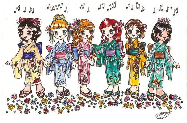 disney princesses in japanese style