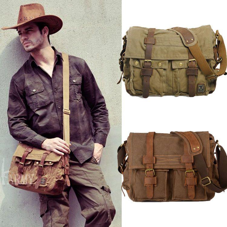 Men's Vintage Canvas Leather Satchel School Military Shoulder Bag ...
