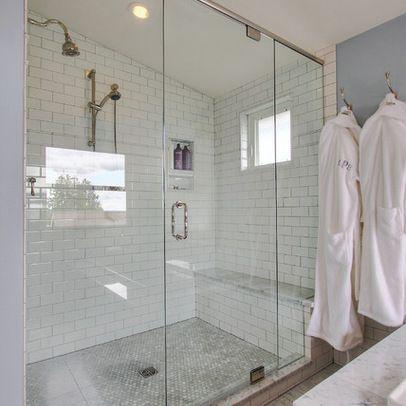 Shower White Subway Tile Penny Tile Floor Gray Grout
