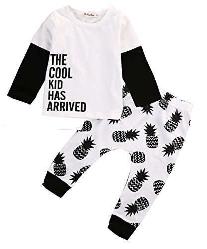 Baby Boys Girl White Stitching Top Pineapple Printed Pant Clothing Baby Boys Girl White Stitching Top Pineapple Printed Pant Clothing Outfits Set (12-24M)