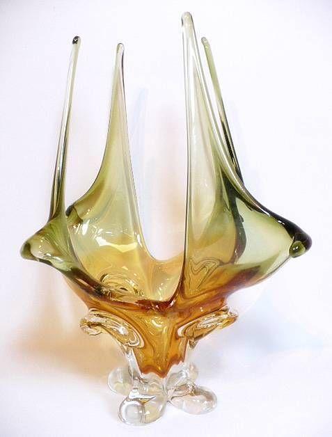 Ks Vintage Mid Century Chalet Murano Art Glass Stretch Finger Centerpiece Bowl Glass Art Mid Century Art Glass Art Deco Glass