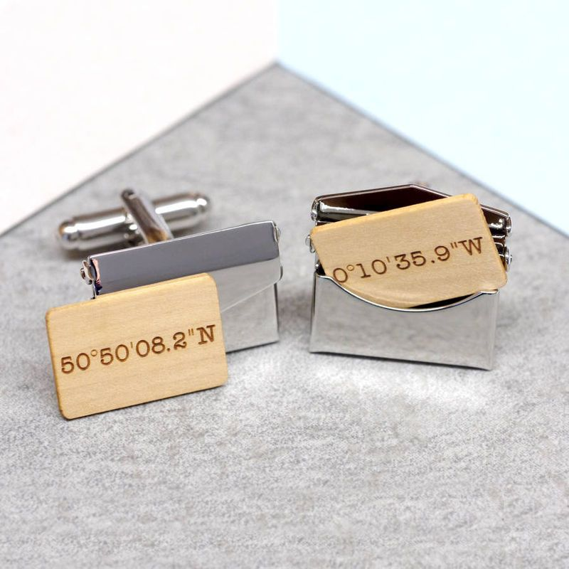 SILVER Personalised Morse Code Engraved RECTANGLE Cufflinks Wedding  Birthday