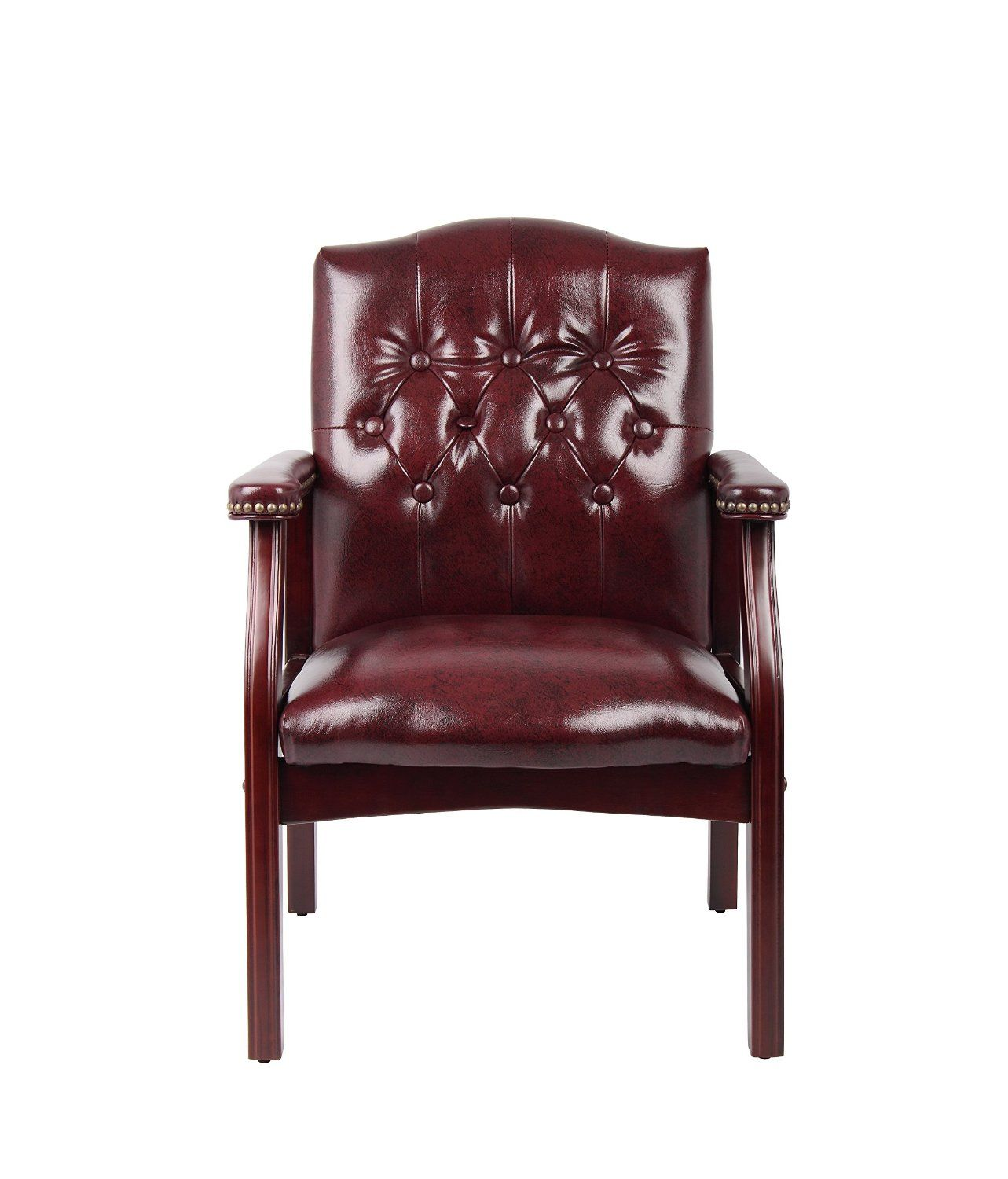 Boss Traditional Oxblood Vinyl Guest Chair