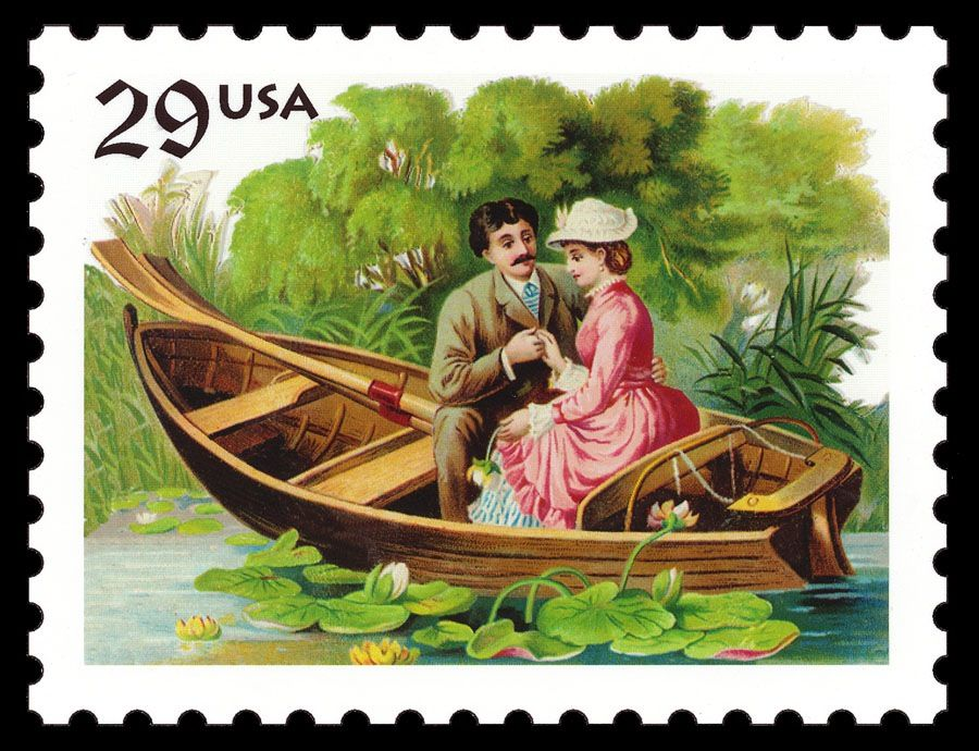 Love / Courting Couple In a Boat | Sheaff : ephemera