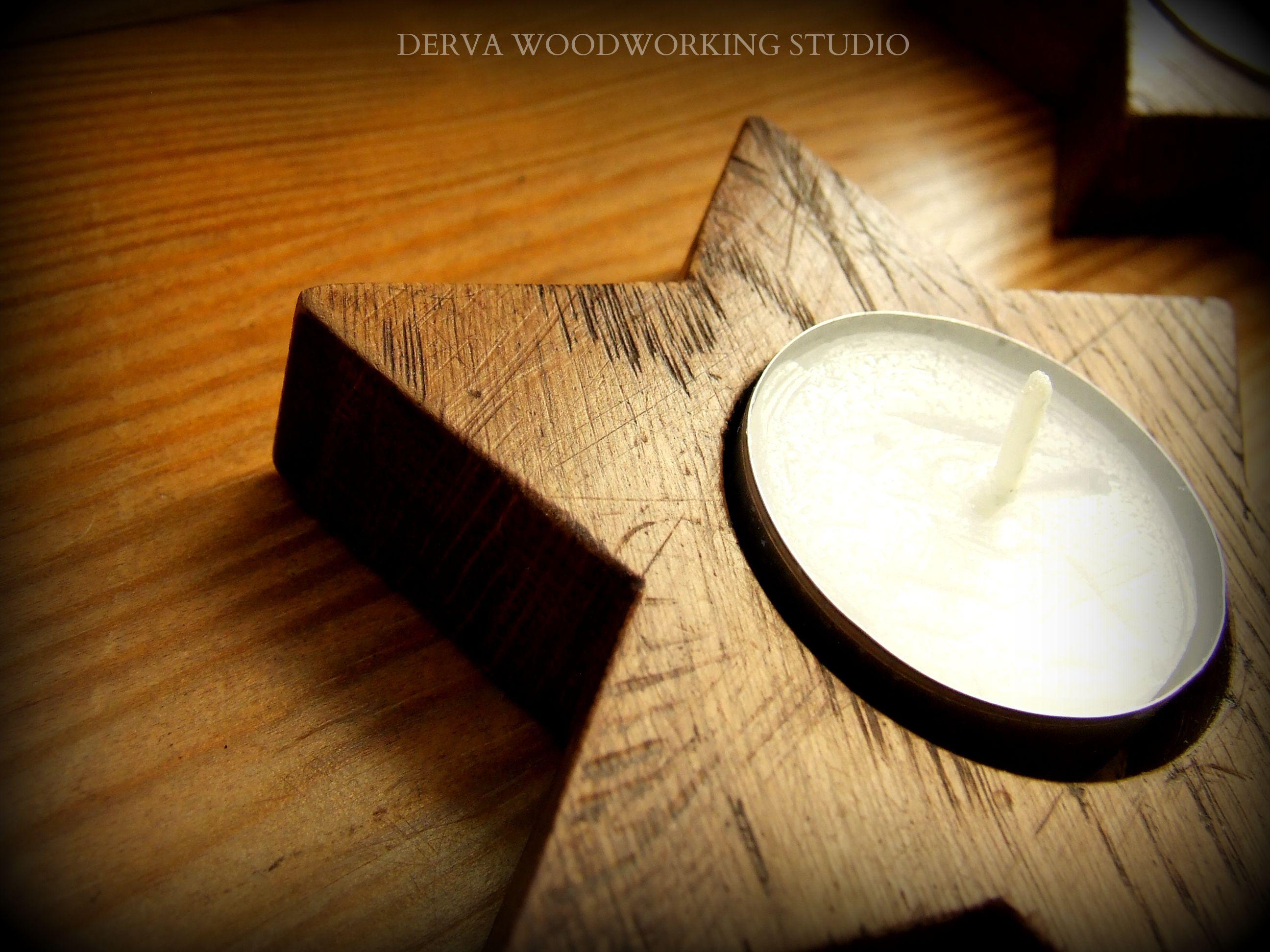 Old oak wood tealight.