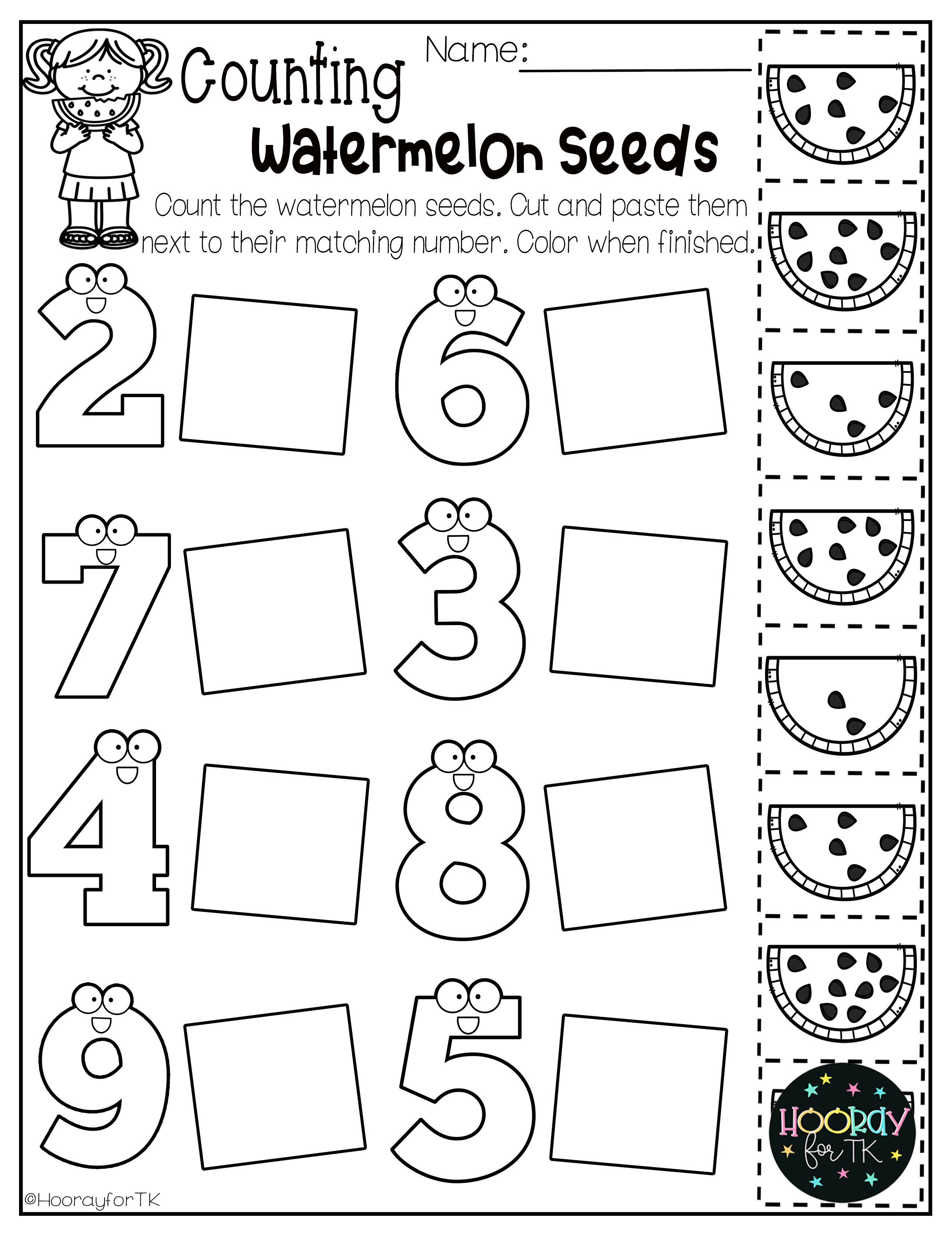 Summer Worksheets For Transitional Kindergarten In