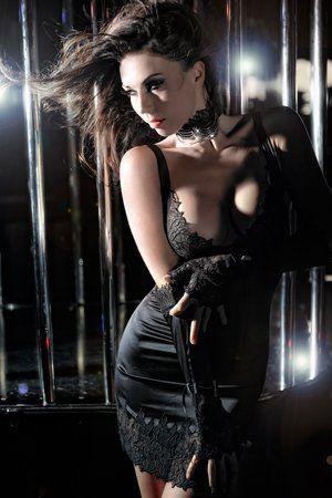 1f6934a67149f (Click to order -  270.30) Cotton Club 1HR Rcrescentini Brivido Black Lace  Chemise From Cotton Club