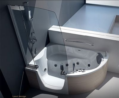 Modern Corner Bathtub With Shower Combo From Teuco Shower Tub