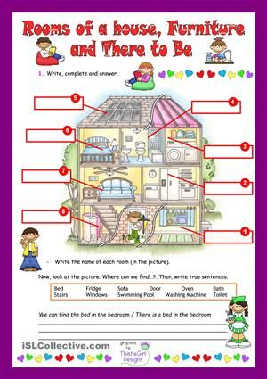 label parts of the house + there is a... in the..... | L a C ...