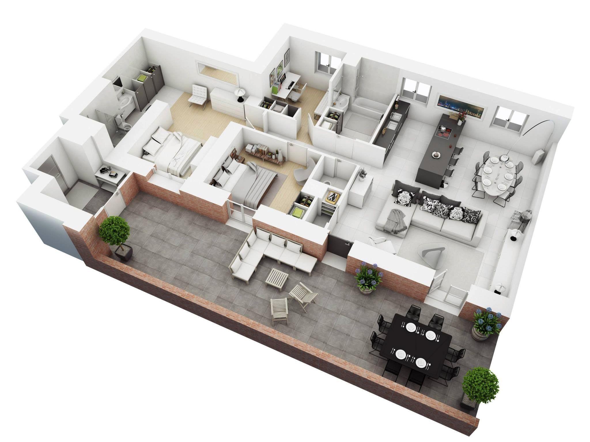 3d Rendering First Floor Townhome Unique Floor Plans Rendered Floor Plan Home Design Plan