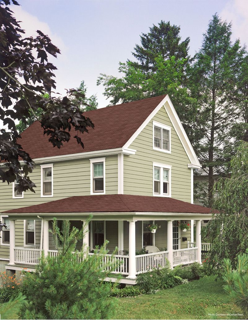Sage green vinyl siding certainteed cedar siding prices for Siding colors for homes