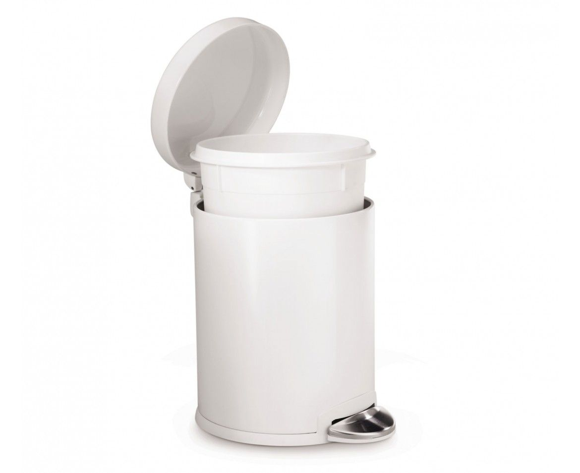 Simplehuman | 4.5L Mini Round White Steel Step Trash Can / TRASH CAN FOR  DIAPERS