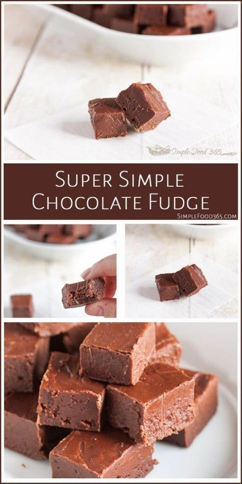 Quick and easy, this super simple 6 ingredient chocolate fudge is great for satisfying that chocolate craving! It is not the classic fudge your grandma made, but it is delicious, none the less. | SimpleFood365.com
