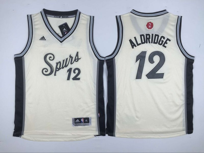 0be9dc7a1ca7  20.5 Adidas San Antonio Spurs  12 LaMarcus Aldridge Cream 2015 Christmas  NBA Swingman Jersey Youth cheap jersey from China